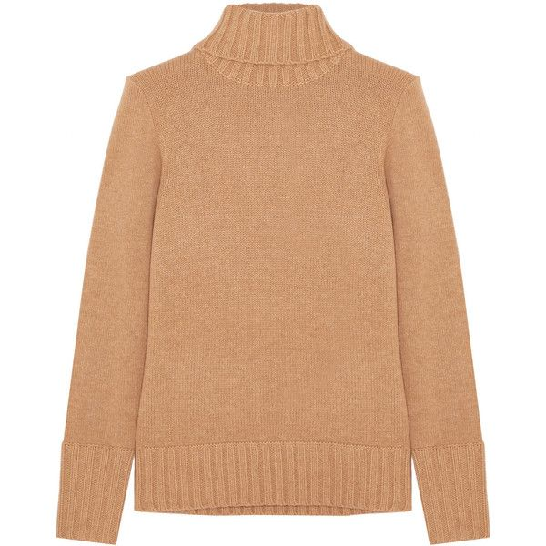 J.Crew Cashmere turtleneck sweater (€250) ❤ liked on Polyvore featuring tops, sweaters, camel, turtle neck sweater, j crew turtleneck, cashmere sweater, camel sweater and j crew cami