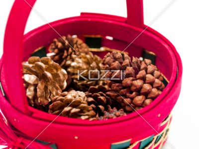 Pinecones in Basket - A mix of gold and natural pinecones in a basket.