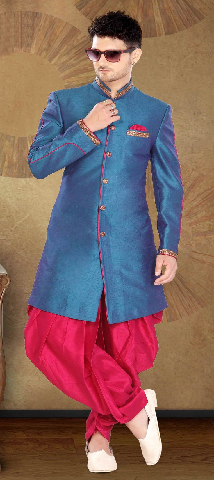 503946: Blue  color family  stitched IndoWestern Dress .