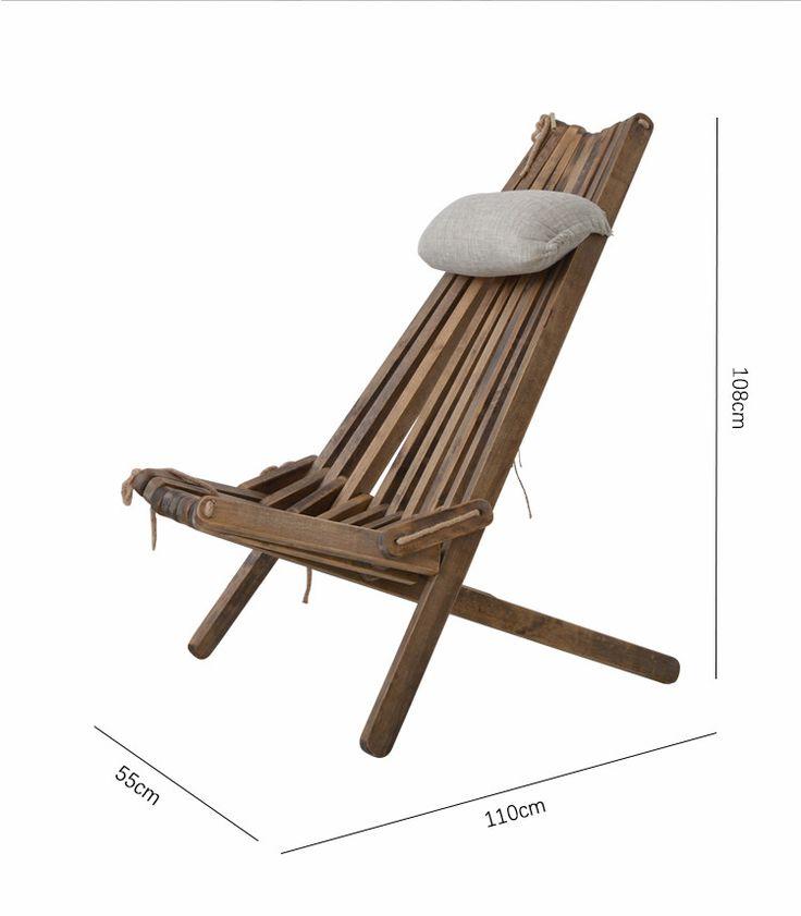 Открытый складной стул wood гостиная с Подушки и сиденье Подушки Уличная мебель стул пляжа Foldale патио балкон деревянный стул