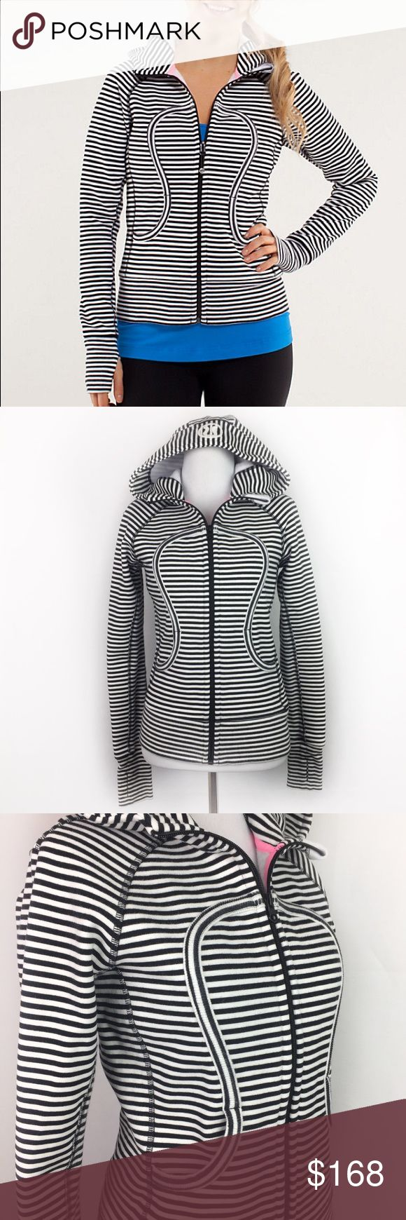 """Lululemon Scuba Zip Up Hoodie Jacket Black Striped •Lululemon Black White Striped Scuba Zip Up Hoodie Jacket •Women's Size 4 •In excellent used condition •Cotton/ Polyester/ Spandex •All measurements are Approximate: 23"""" length, 17"""" across chest, 21"""" sleeve length lululemon athletica Jackets & Coats"""