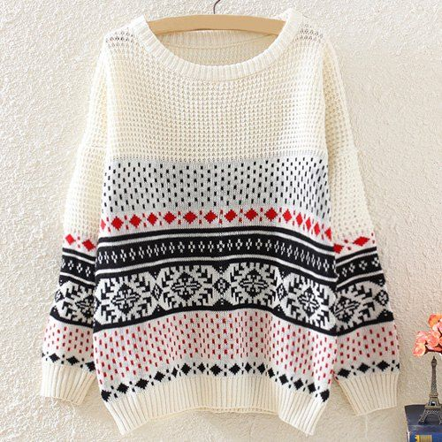 Printed Long Sleeve Casual Scoop Neck Sweater For Women
