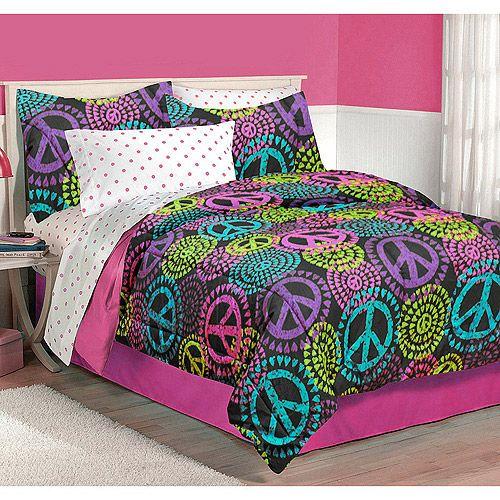 Latitude Neon Peace Bedding Comforter Set Kids Amp Teen