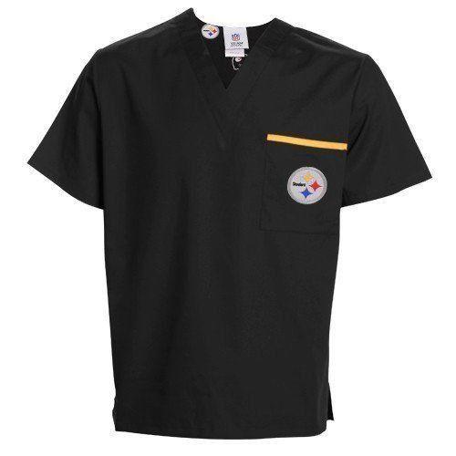 NFL Pittsburgh Steelers Black Solid Unisex Scrub Top