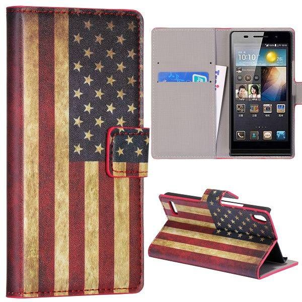 Amerikaanse vlag bookcase hoesje voor Huawei Ascend P6