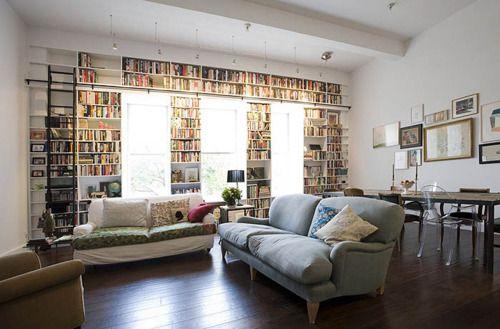 wall of windows & books