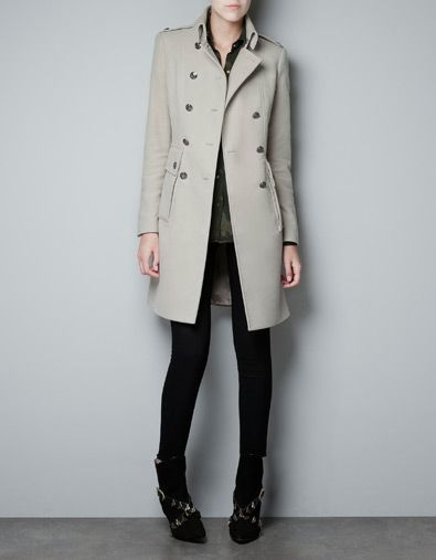 VELVETON MILITARY COAT - Coats - Woman - ZARA United Kingdom £99.99