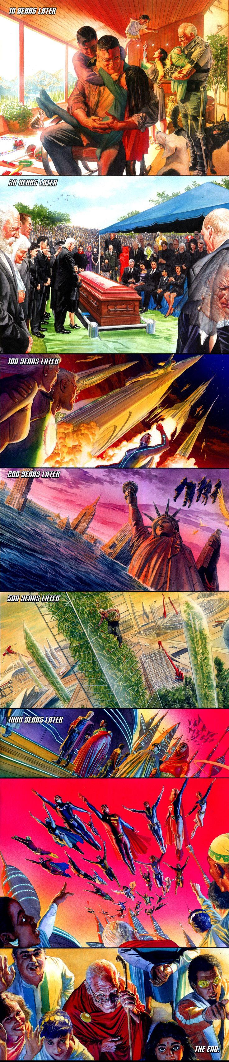 The final fate of Alex Ross'  Superman from Kingdom Come.  From Justice Society of America #22. Still one of my all time fave stories.