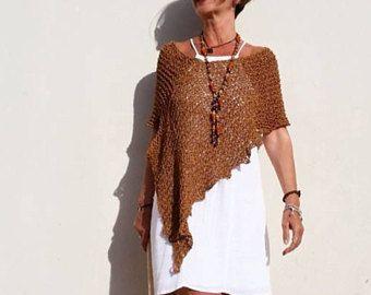Poncho de mujer, tejido a dos agujas, chal de verano, poncho de verano, regalo para mujer, poncho marrón, tejidos de punto