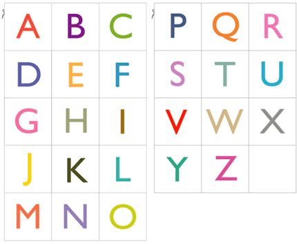 2 sets of free PDF with 26 printable alphabet cards in upper case and lower case, colored or black & white. Each card is about 2 x 2 inch. Simply print, cut and use for anything you like. Play games with them, learn spelling or even use them in your craft projects or scrapbooks.