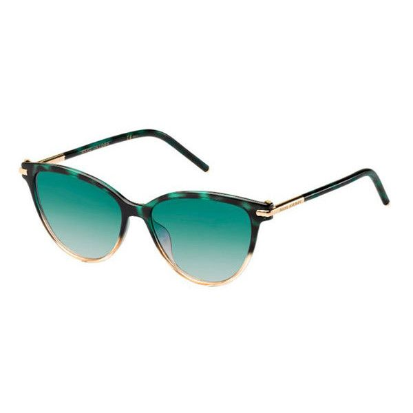 Marc Jacobs MARC 47/S TOZ/08 Sunglasses (£115) ❤ liked on Polyvore featuring accessories, eyewear, sunglasses, green havana, green glasses, green lens sunglasses, green sunglasses, green lens glasses and marc jacobs sunglasses