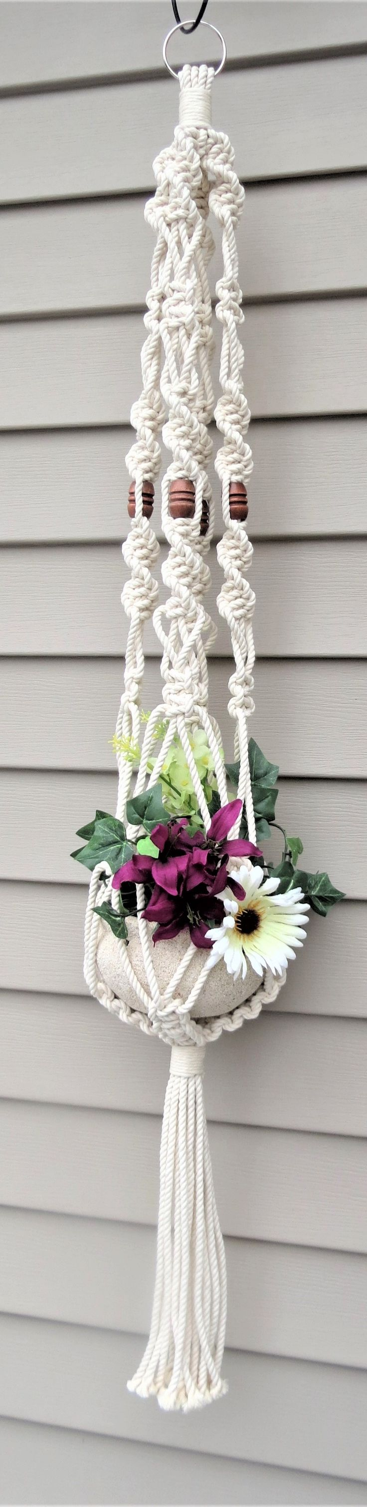 This beautiful modern cotton macrame plant hanger will look great anywhere in your modern home. Cotton macrame, wedding macrame, boho home decor, white plant holder, beaded plant hanger, choose beads, macrame beaded plant holder basket, hippie wedding decor