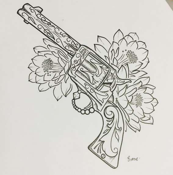 Татуировка пистолет: значение, фото, эскизы