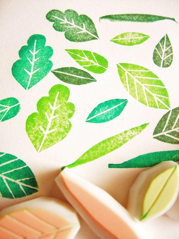 leaf rubber stamps. hand carved rubber stamps. hand carved stamp. 5 different leaf designs. craft projects. diy wedding. set of 5.