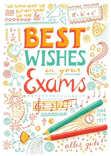 "Also, here is a ""Best Wishes in Your Exams"" card I finished for Bishop Stopford school last month, thought I would blog about this too while I'm here. I will be printing it for sale on my Etsy shop soon! I really am plugging the shop at the moment! Sorry about that, it won't be for long."