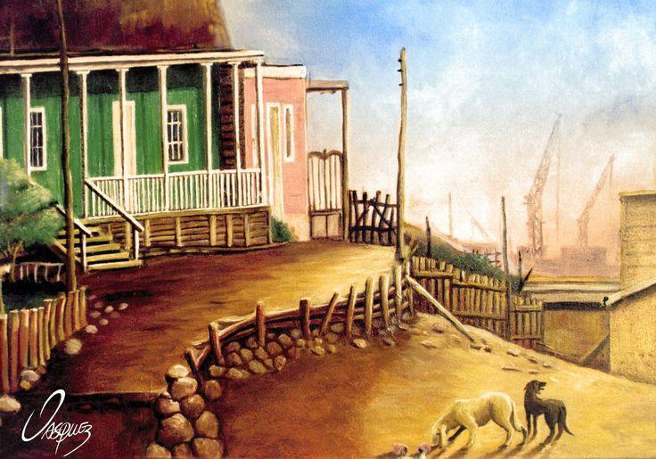 Oleo sobre tela de 60x40 cm de Johnny Vásquez Osorio, CASAS A LOS PIES DEL MORRO, 1998