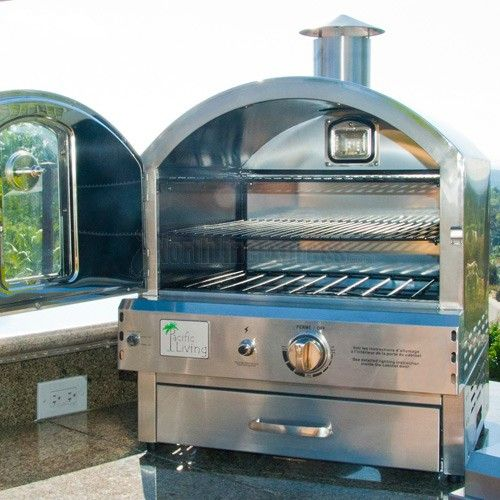 Pacific Living Propane Gas Stainless Steel Outdoor Pizza Oven - PL8304SS Pizza delivery? We think not... This incredible outdoor gas oven will add versatility to your backyard, allowing you to cook pi
