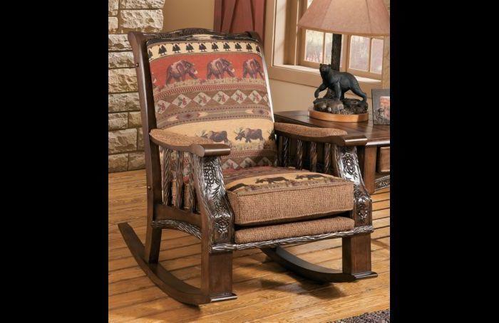 Lodge Style Rustic Cabin Chenille Rocker Chair Furniture