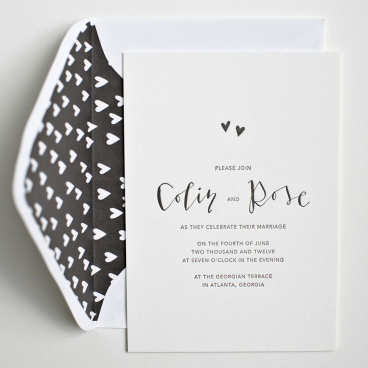 modern black & white wedding invitation