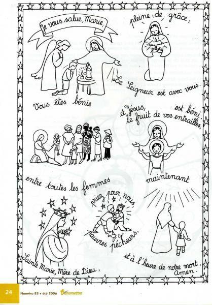 """Prière à colorier """"Je vous salue Marie"""""""