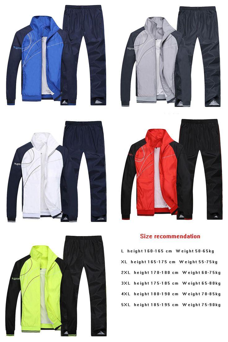 [Visit to Buy] Men Running Sets Gym Sportwear Autumn Windproof  Table Tennis Badminton Tracksuits Sport  Training  Jogging Jogger Suits #Advertisement