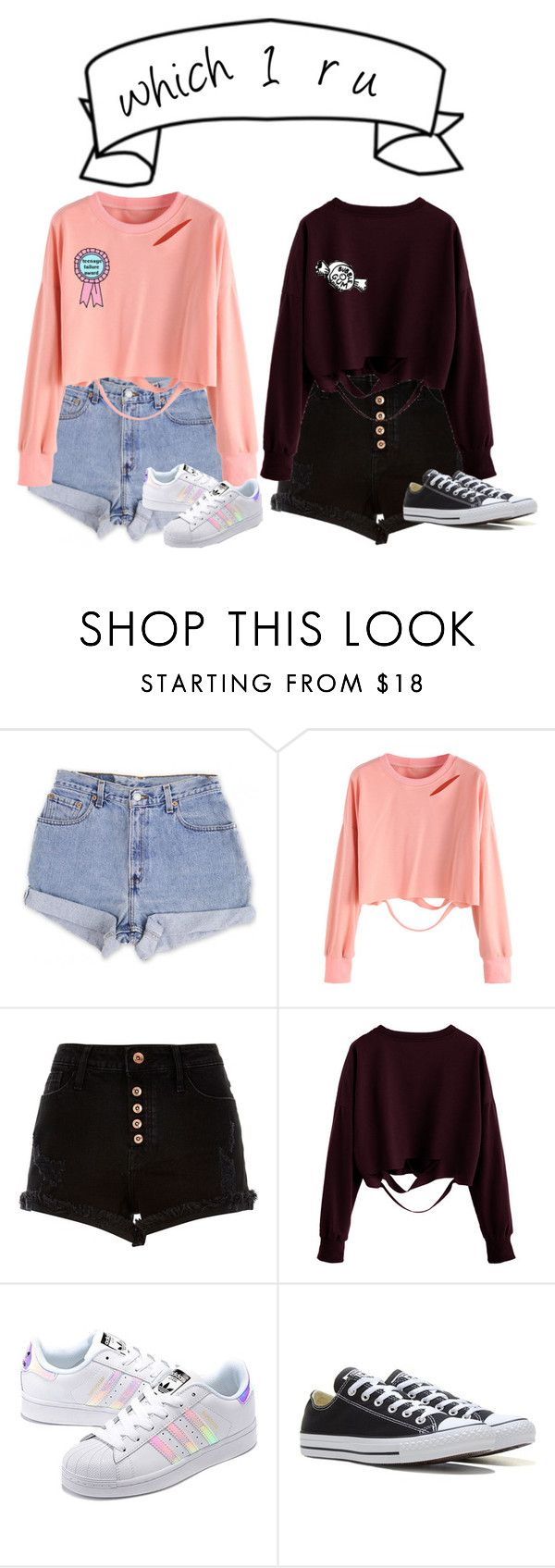"""""""Untitled #184"""" by punkass-unicorn on Polyvore featuring Levi's, River Island, adidas Originals and Converse"""