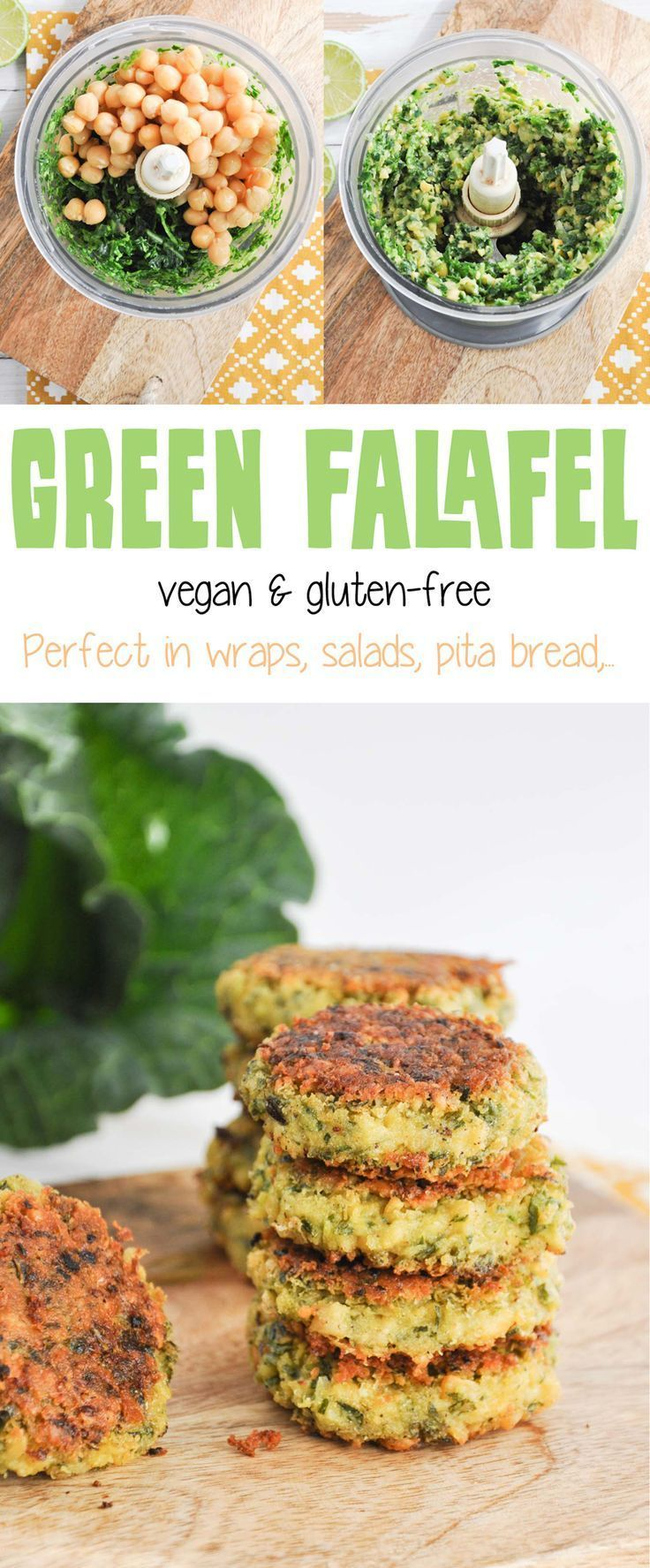 Recipe for vegan & gluten-free Green Falafel. Super easy and quick to make, don't require soaking of the chickpeas.