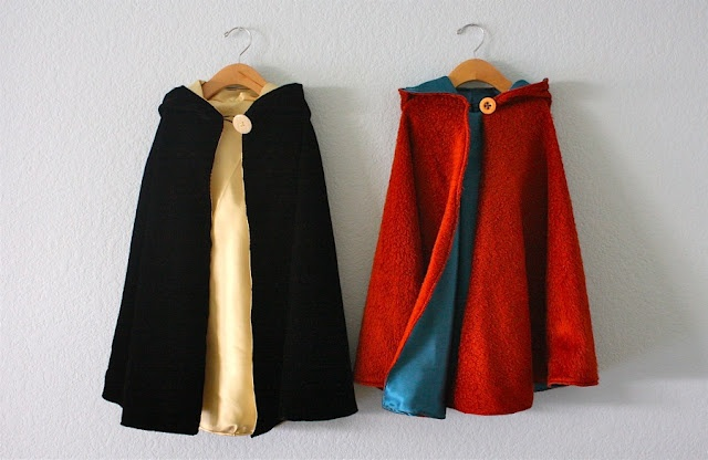 Kids capes- the latest request from my niece is for a cape. Maybe I will make one of these for her birthday!