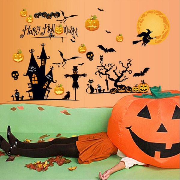 Halloween Glass Stiker Scene Layout Decoration  Halloween Holiday ... (£8.42) ❤ liked on Polyvore featuring home, home decor, holiday decorations, festival gifts, halloween supplies, holiday home decor, halloween home decor, holiday decor and glass home decor