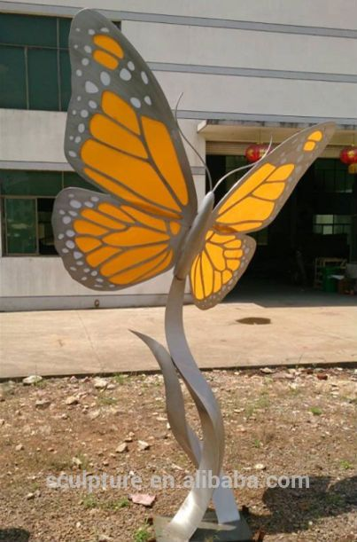 Acrylic With Stainless Steel Structure Butterfly Sculpture/Animal Statue