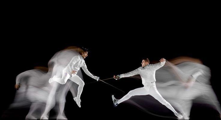 Jason Rogers and Tim Morehouse, Olympic fencers, photographed in New York City, October 2009 © Howard Schatz