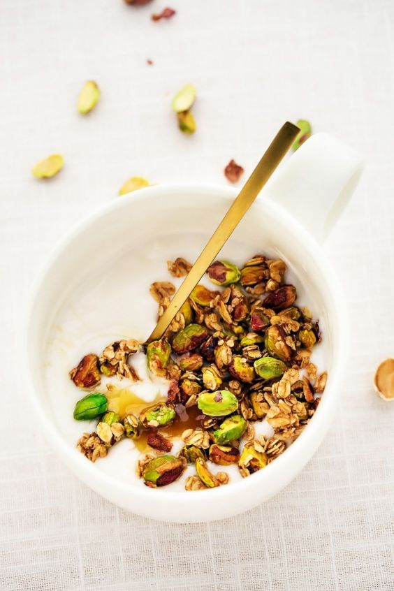 Vegan Snacks: 19 Healthy Snacks for a Vegan Diet   Greatist  It may be granola, but this particular recipe is anything but basic. Not only does it need a fraction of the time in the oven than most granola recipes, but it opts for lesser-used pistachios instead of the usual almonds or walnuts for a pop of color.