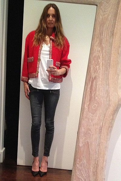 """Saturday....Wearing vintage red Chanel jacket (another gorgeous gift from Karl, back-in-the-day!) Sharon Segal (grand daughter of Fred Segal L.A) white tee, my new favourite grey Paige cropped jeans and Jimmy Choo heels."""