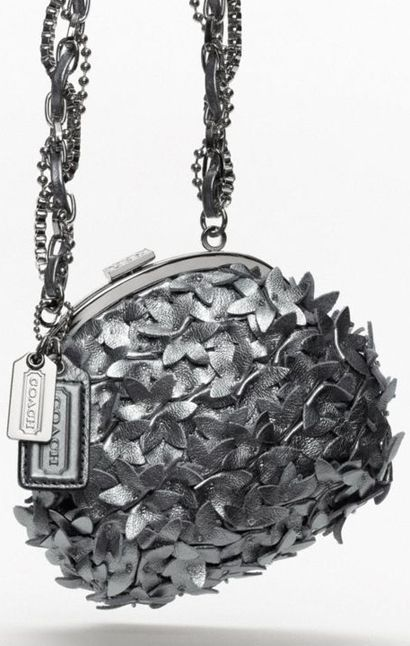 Coach Poppy Leather Flower Party Bag  (Gunmetal color, hand-beaded, limited edition featured in Vogue)