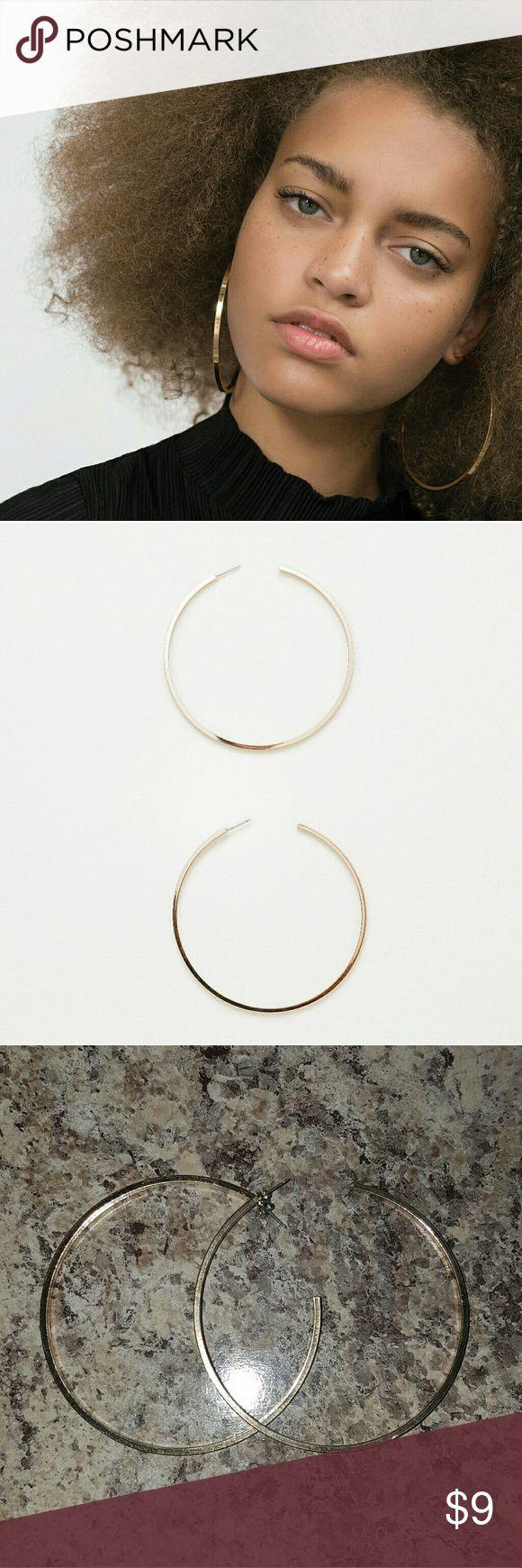 "Zara Large Hoop Earrings Zara Golden Large Hoop Earrings.  3"" diameter ZARA  Jewelry Earrings"