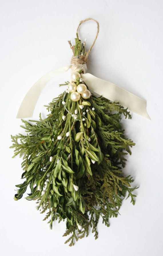Aisle decor - This mistletoe kissing ball, Christmas mistletoe holiday and wedding decoration, is the perfect modern version of the romantic and classic mistletoe ball.  SHY contains a few branches of fresh cedar, dried and preserved boxwood stems, green sprays of white millinery berries (millinery pips), a dainty loop of vegan mini pearls