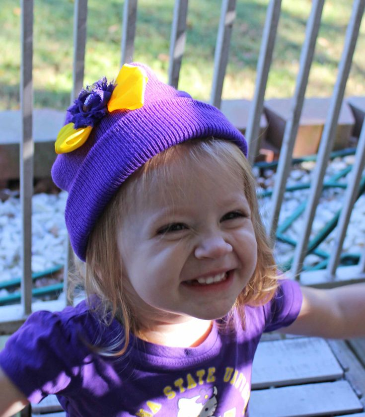Purple and Yellow LSU Tigers Football Hat, Vikings Beanie , Shabby Chic Flower Hat,  Newborn Crochet Hat, LSU Baby Photo  Prop , Geaux Tiger by SundayChildBoutique on Etsy https://www.etsy.com/listing/473303618/purple-and-yellow-lsu-tigers-football