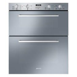 Smeg DUSF44X Cucina 60cm Stainless Steel Double Under Counter Multifunction Oven With New Style Controls | Appliances Direct
