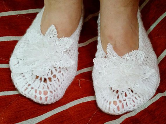 Wedding Slippers White Crochet Slippers Lace Flower Accent