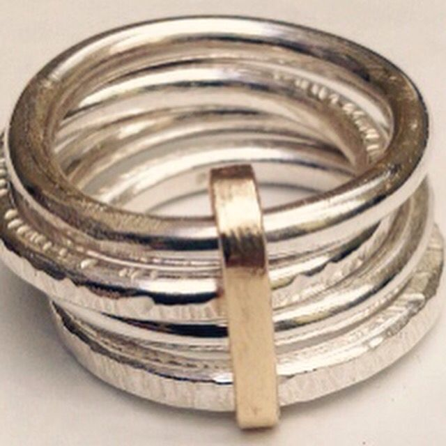 Silver, hammered multi ring with gold ring