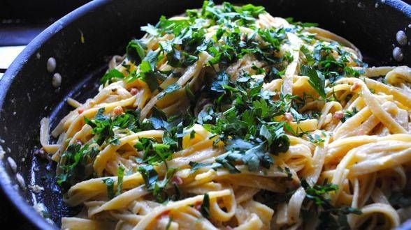 Pasta Carbonara by Rachel Ray Our all time fav in this house! I even grow my own Italian parsley now, just for this recipe :)