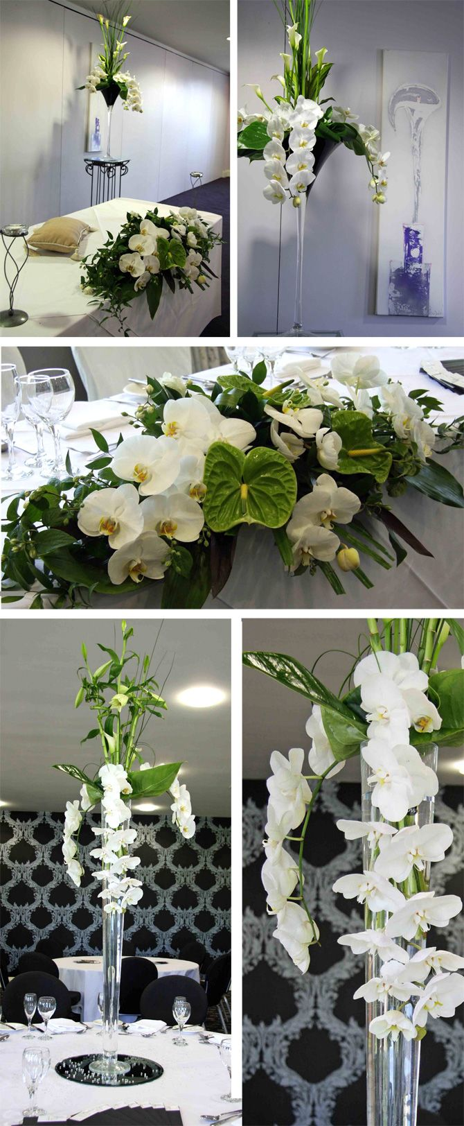 Crisp modernity of the tall martini centerpiece design using orchids, anthuriums, curly bamboo and calla lilies!