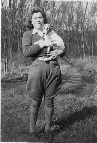 Women's Land Army Girl, Eccleshall, with dog.