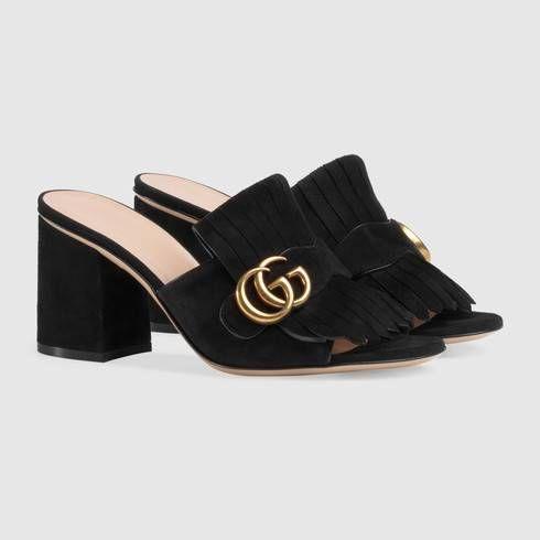 Suede mid-heel slide in Black suede