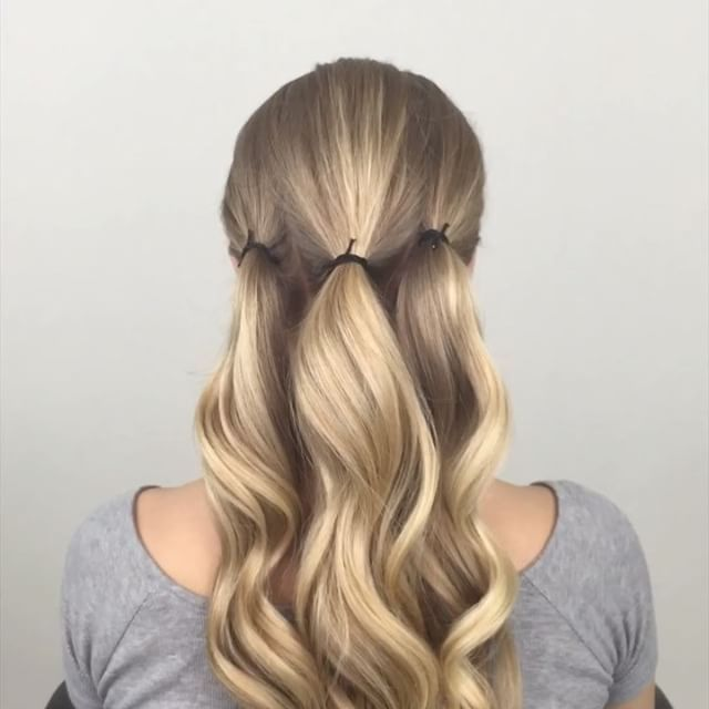 Easy  updo  that starts with three ponytails For Me Hair