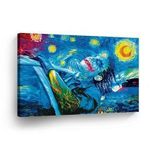 Joker Van Gogh Oil Paint Starry Night Decorative Art Canvas Print Modern Wall Décor Artwork Wrapped Wood Stretcher Bars Vertical- Ready to Hang - %100 Handmade in the USA-JKH49