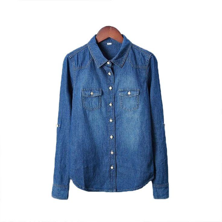 Vetement חדש 2016 נשים בתוספת גודל בגדי חולצה ארוך שרוולים חולצת ג 'ינס כחול נוסטלגי בציר Femininas Camisa חולצת ג' ינס