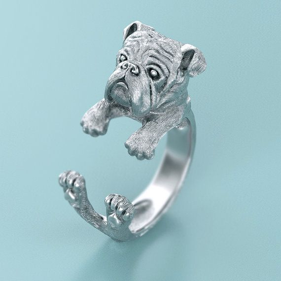 Handmade English Bulldog Ring in Oxidized Sterling Silver. Great for all the Dog, Puppy, and Pet Lovers
