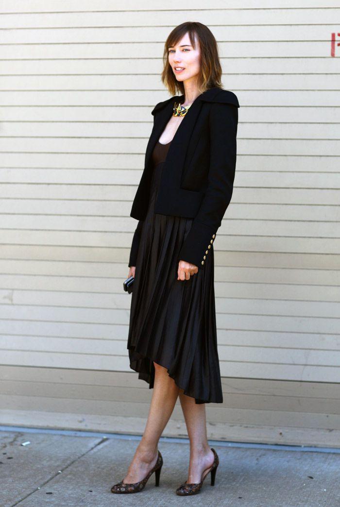 Streetpeeper.com Street Fashion Jacket: Black Blazer over Black Pleated Dress Photo By: Phil Oh