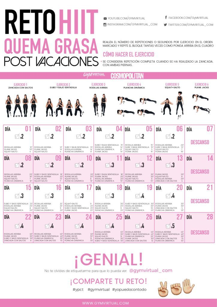 Calendario Fit.Reto Hiit Quema Grasa Fit Rutinas De Ejercicio Semanal